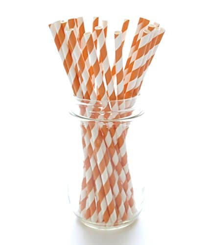 Buy autumn fall party straws orange white straws paper for Striped and polka dot pumpkins