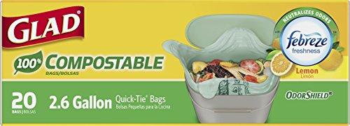 Glad 100 Compole Odorshield Quick Tie Small Trash Bags Lemon Scent 2 6 Gallon 20 Count
