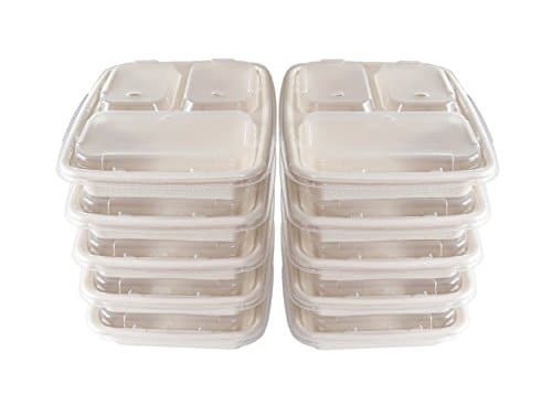 A World Of Deals 3 Compartment Compole Food Container Microwave Safe With Lids Divided Plate Bento Box Use For 21 Day Fix Meal Prep Portion