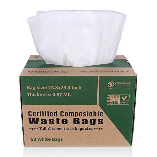 buy primode compostable bags food waste bags 100 astmd6400 certified biodegradable compost bags tall kitchen 13 gallon trash bags certificated by us bpi - Tall Kitchen Trash Bags
