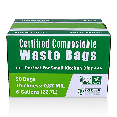 Primode Compole Bags Food Waste 100 Astm13400 Certified Biodegradable Compost Small Kitchen 6 Gallon Trash Certificated By Us Bpi And