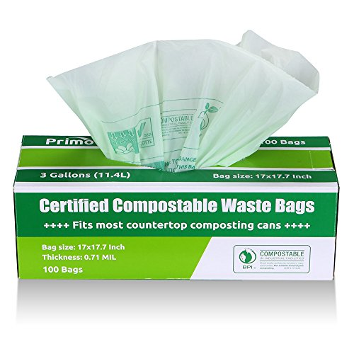 Compole Bags By Primode Premium Food Waste 100 Certified Compost Small Kitchen 3 Gallon Trash Extra Thick 0 71