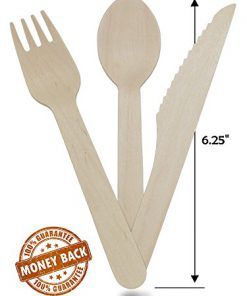Eco-Friendly Biodegradable Sustainable Utensils 100 Forks, 50 Spoons, 50 Knives Birchwood Wooden Cutlery Set Natural 200 Pack Great for All Types of Events Compostable