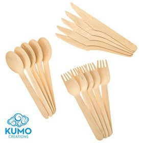Buy Wooden Disposable Cutlery Combo Set – 300pc - 100 Forks