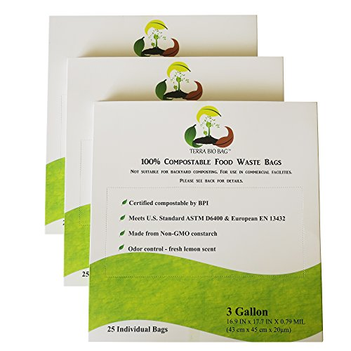 Terra Bio Bag 100 Compole Bags 3 Gallon 25 Count Pack Of Bpi Certified Biodegradable Trash Food Compost Now Only 7 5