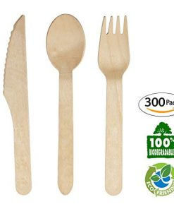 """Pack of 200  6/"""" Length Eco-Friendly Wooden Disposable Cutlery Set"""