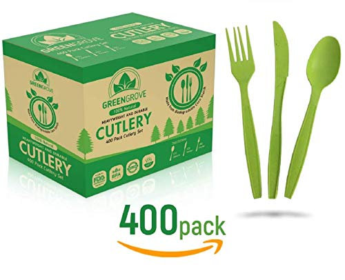 Buy 100% Compostable Forks, Spoons and Knives Biodegradable Cutlery Combo Set- 400 Large Ecofriendly Silverware Utensils… Now! Only $