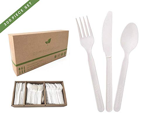 Buy 100 Eco Friendly Compostable Cutlery Set 300 Pieces 100 Forks 100 Spoons 100 Knives Durable Disposable Now Only 28 99