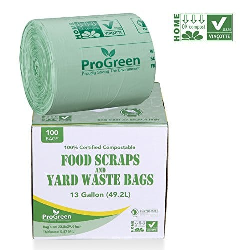 Progreen 100 Compostable Bags 13 Gallon Extra Thick 0 87 Mil 100 Count Small Kitchen Trash Bags Food Scraps Yard Waste Bags Biodegradable Astm