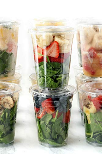 Plasticless 16 Ounce Biodegradable Plastic Cups Made of Compostable Plant-Based PLA for to Go Cold Beverage 50 Count Eco Friendly Clear PLA Cups with Lids
